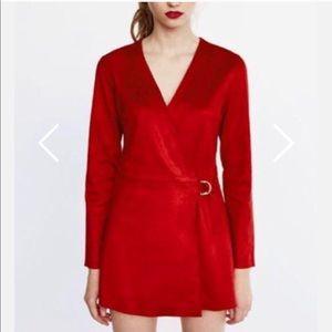 Red wrap romper from Zara
